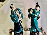 BEAUTIFUL ANTIQUE  HAND CRAFTED BISQUE 2 LARGE FIGURINES GEISHA & SAMURAI JAPAN