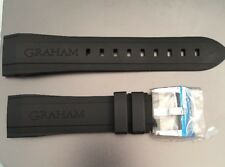 Genuine Graham Black Rubber Strap And Buckle 24mm 20mm Chronofighter Authentic