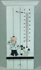 Wooden Nautical Theme Wall Thermometer Blue & White Sailor Sam BZA1008 NEW