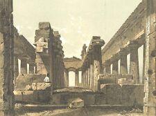 Italy, PAESTUM TEMPLE OF HERA II NEPTUNE RUINS ~ Old 1882 Art Print Engraving