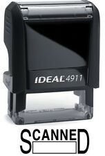 SCANNED with Date Box, IDEAL 4911 Self-inking Rubber Stamp with BLACK INK