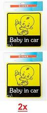 Lot Of 2 Baby In Car Safety On Board Window Suction Cup Yellow Decal Sign Auto