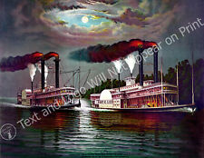 "1883 Steamer Race Robert E. Lee and Natchez Vintage Art Print 8.5"" x 11"" Reprint"