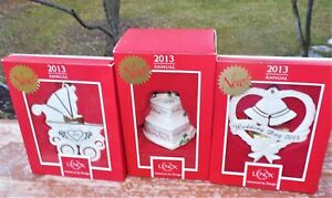Special Occasion Dated Glass Ornaments New Baby Wedding Year Lenox Hallmark NIB