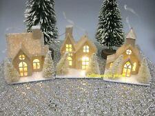 Martha Stewart Light Up LED PUTZ Christmas Ornaments Set of 3 House Village