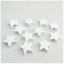 50PCS 18MM WHITE COLOURS STAR SHAPED WOODEN BEADS FOR JEWELLERY MAKING