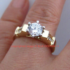 Genuine Ladies Solid 9ct Yellow Gold Engagement Wedding Rings Simulated Diamonds