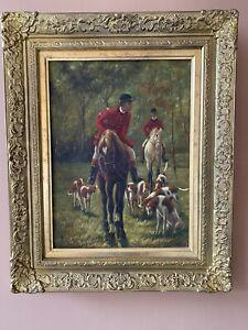 hunting scene painting Oil in gilt frame