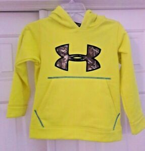 🌲 Under Armour Youth XS YXS Neon Yellow Camo Hoodie Boys New Nwt Real Tree