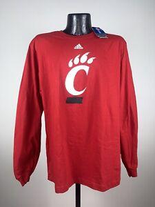 Men's Cincinnati Bearcats Adidas Red The Go To Long Sleeve Tee Shirt NWT 2XL