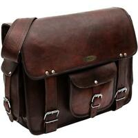 Vintage Rugged Leather Men bag Briefcase Laptop Messenger Shoulder Bag Satchel