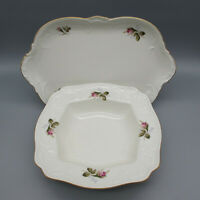 SET OF TWO - Rosenthal Germany China SANSSOUCI ROSES- Ivory Serving Pieces