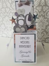 Handmade  Personalised 60th Diamond Wedding Anniversary Pop Up  Card