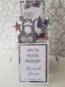 Handmade  Personalised 60th Diamond Wedding Anniversary Pop Up  Card,Unique gift
