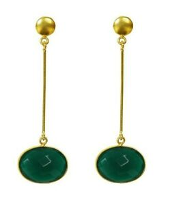 New Gorgeous 18K Gold Plated Top With Faceted Green Onyx Dangling Earrings Gift