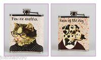 RETRO VINTAGE HIPSTER DOG CAT PETS STAINLESS STEEL DRINK HIP FLASK NOVELTY GIFT