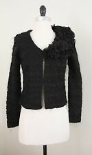 Fuzzy Hairy Cardigan with 3D Flowers on One Shoulder