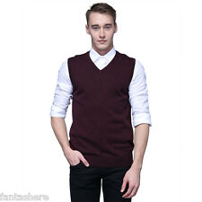 Men Soft Sweater Knitted Vest Warm Cashmere V Neck Sleeveless Pullover Tops Tank