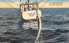 LINDY LOU FISHING SHIP KEY WEST FLORIDA POSTCARD (c. 1940s)