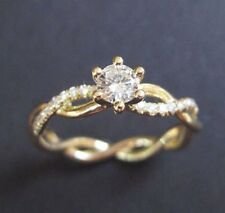 Engagement Ring 14K Yellow Gold Finish 1.10 Ct Round Cut Diamond Solitaire