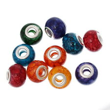20 HOT Moda Misto Perle Perline Charm Foro Largo Colorati Vetro 15mmx11mm