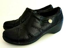 Clarks Collectiion Womens Loafer Wedge Shoes Sz 9.5 M Black Shimmer Canning Ann