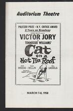 Cat on a Hot Tin Roof 1958 Auditorium Theatre Program Victor Jory