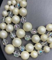 Vintage 1950's Ab Crystal Cream White 5 Strand Pearl Necklace Hook Clasp Japan