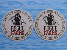 2 Beer Brewery Coasters ~*~ ROGUE Brewing Co GYO = Grow Your Own FARMS >< OREGON