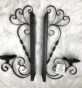 Wall Sconce Set Of 2 Mounted Candle Holder Modern Decor Metal Scroll Decorative