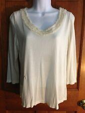 TALBOTS Women's Ivory White MODAL SILK BLEND Blouse Top Shirt Size Medium M