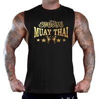 Men's Gold Foil Muay Thai Stars Black T-Shirt Tank Top MMA Fighting Martial Arts