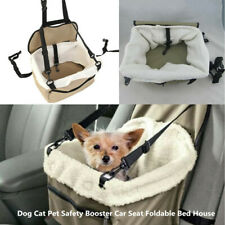 Beige Lookout Small Dog Cat Car Seat Pet Safety Booster Seats Foldable Bed House