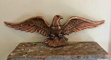 "Vtg Solid Cast Metal American Bald Eagle Statue Wall Hanging 20"" Barn Rustic"