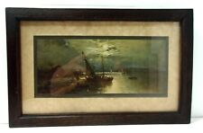 "VTG c.1910s Nautical Sailing at Bay Print Framed on 7"" x 11"" Dark Oak Frame"