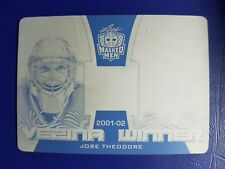 2017 Leaf Masked Men Jose Theodore 1/1 Vezina Winner Black Printing Plate