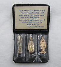 "† VINTAGE ""MY COMPAINION"" 3 POCKET SHRINE ""JESUS, MARY & JOSEPH"" & CASE 1 1/2"" †"