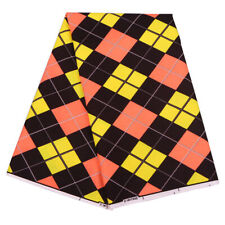 1 Yard Red&Yellow Plaid African Polyester Wax Print Fabric For DIY Accessories