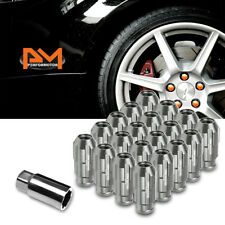 M12X1.5 Gunmetal JDM Open End Bulge Spline Wheel Lug Nut+Lock Key 24mmx50mm 20Pc