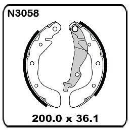 Daewoo Kalos T200 2003-2005 REAR Drum Brake Shoes SET N3058