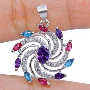 Amethyst & Multi Gemstone 925 Solid Sterling Silver Pendant Jewelry
