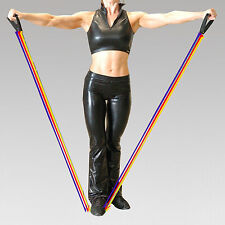 Rubber Resistance Band 3 Tension Toning Tube Cord Set Yoga Pilates Adjustable