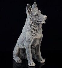 Sitting German Shepherd Marble Sculpture Russian Stone Art Figurine Dog Statue