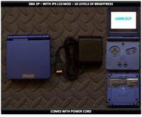 Nintendo Game Boy Advance GBA SP IPS MOD System 10 Level Brightness Cobalt Blue