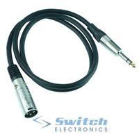 6.35mm Stereo Jack Plug to XLR Male Plug Audio Instrument Lead 1m 2m 3m 5m