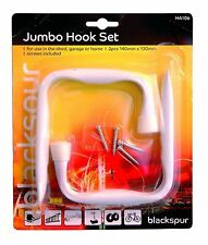 2 Pack Heavy Duty JUMBO HOOKS SET BIKE LADDER GARAGE SHED RACK TOOLS HANGER BN