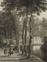 LOWENSTAM; VELDE, Pause einer Hetzjagd im Wald, 1871, Radierung
