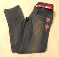 Skinny Jeans Pants Girls Size 14 Medium Wash Belted