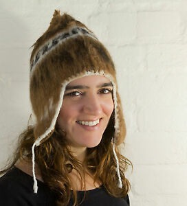 Alpaca Knitted Adult Chullo Hat with Ear Flaps - fairly traded - Made in Bolivia