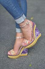 Christian Louboutin  Duplice 140 Purple Orange Yellow Wedge Platform Sandals Sho